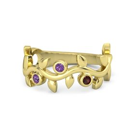 Round Amethyst 14K Yellow Gold Ring with Amethyst & Red Garnet