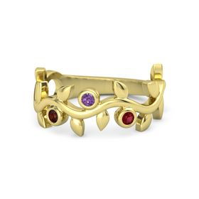 Round Amethyst 14K Yellow Gold Ring with Red Garnet & Ruby