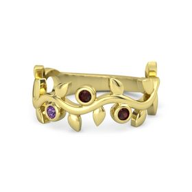 Round Red Garnet 14K Yellow Gold Ring with Amethyst and Red Garnet