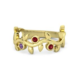 Round Ruby 14K Yellow Gold Ring with Amethyst and Ruby