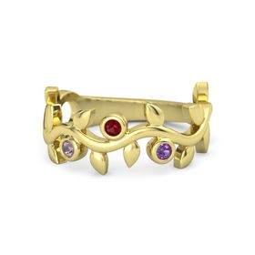 Round Ruby 14K Yellow Gold Ring with Rhodolite Garnet and Amethyst