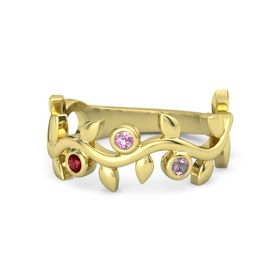 Round Pink Tourmaline 14K Yellow Gold Ring with Ruby and Rhodolite Garnet