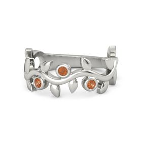 Round Fire Opal 18K White Gold Ring with Fire Opal