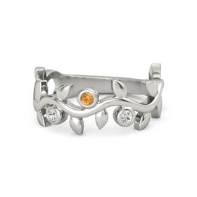 Round Citrine 18K White Gold Ring with White Sapphire