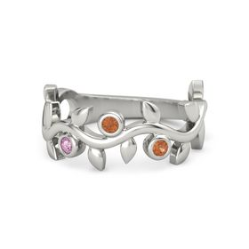 Round Fire Opal Palladium Ring with Pink Sapphire & Fire Opal
