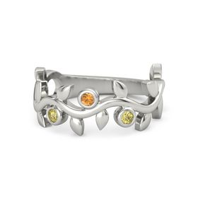 Round Citrine Palladium Ring with Yellow Sapphire