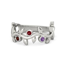 Round Ruby Palladium Ring with Red Garnet & Amethyst