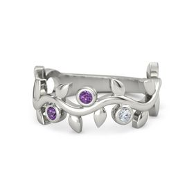 Round Amethyst Platinum Ring with Amethyst and Diamond