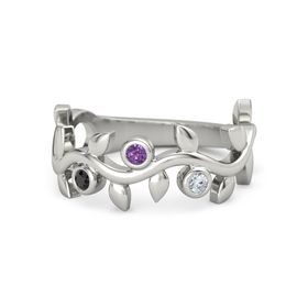Round Amethyst Platinum Ring with Black Diamond and Diamond