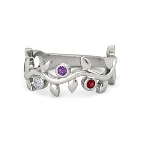 Round Amethyst Platinum Ring with Diamond and Ruby