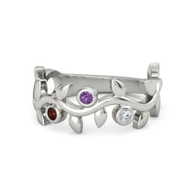 Round Amethyst Platinum Ring with Red Garnet and Diamond