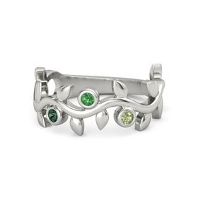 Round Emerald Platinum Ring with Alexandrite and Peridot