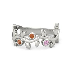 Round Fire Opal Platinum Ring with Fire Opal and Pink Tourmaline