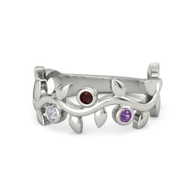 Round Red Garnet Platinum Ring with Diamond & Amethyst