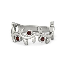 Round Red Garnet Platinum Ring with Red Garnet