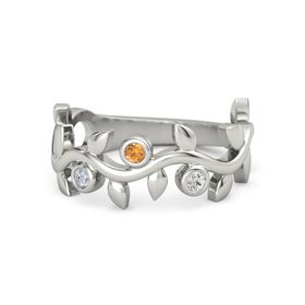 Round Citrine Platinum Ring with Diamond & White Sapphire