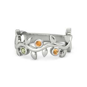 Round Citrine Platinum Ring with Peridot and Citrine