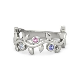 Round Pink Sapphire Platinum Ring with Diamond and Iolite