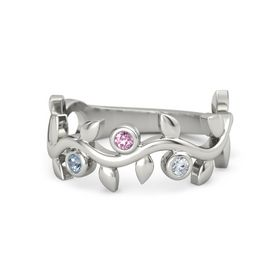 Round Pink Sapphire Platinum Ring with Blue Topaz and Diamond