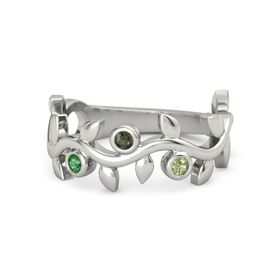 Round Green Tourmaline Platinum Ring with Emerald & Peridot