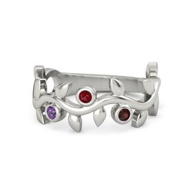 Round Ruby Platinum Ring with Amethyst & Red Garnet