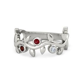 Round Ruby Platinum Ring with Red Garnet and Diamond