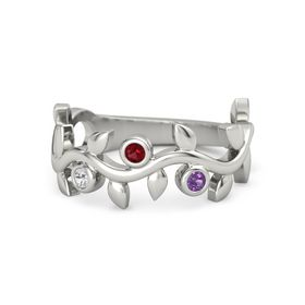 Round Ruby Platinum Ring with White Sapphire and Amethyst