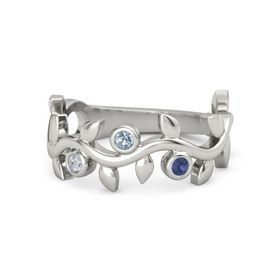 Round Blue Topaz Platinum Ring with Diamond and Blue Sapphire