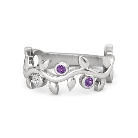 Round Amethyst Sterling Silver Ring with White Sapphire & Amethyst