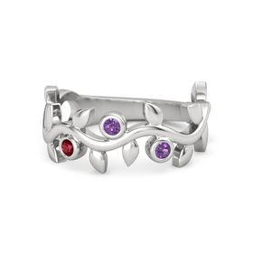 Round Amethyst Sterling Silver Ring with Ruby & Amethyst