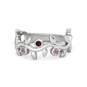 Round Red Garnet Sterling Silver Ring with Rhodolite Garnet
