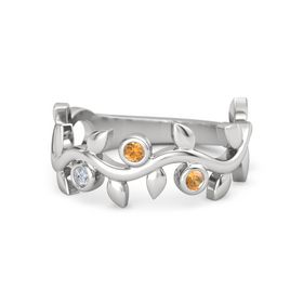 Round Citrine Sterling Silver Ring with Diamond and Citrine
