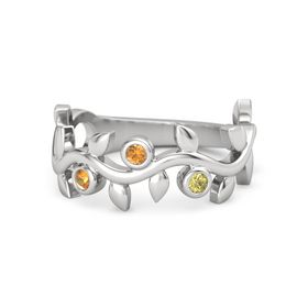 Round Citrine Sterling Silver Ring with Citrine & Yellow Sapphire