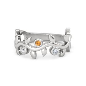 Round Citrine Sterling Silver Ring with White Sapphire & Diamond