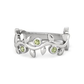 Round Peridot Sterling Silver Ring with Peridot