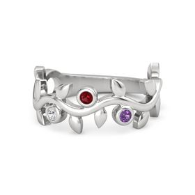 Round Ruby Sterling Silver Ring with White Sapphire and Amethyst