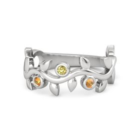 Round Yellow Sapphire Sterling Silver Ring with Citrine