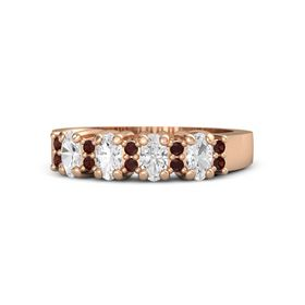 14K Rose Gold Ring with White Sapphire & Red Garnet