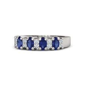 14K White Gold Ring with Blue Sapphire and Diamond