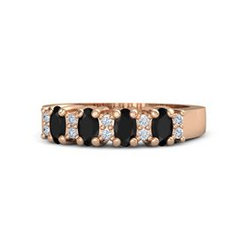 18K Rose Gold Ring with Black Onyx and Diamond