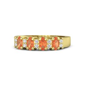 18K Yellow Gold Ring with Fire Opal & White Sapphire