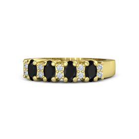 18K Yellow Gold Ring with Black Onyx and Diamond