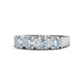 Sterling Silver Ring with Aquamarine & Diamond