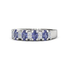 Sterling Silver Ring with Tanzanite and Diamond