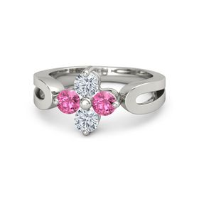14K White Gold Ring with Pink Tourmaline and Diamond