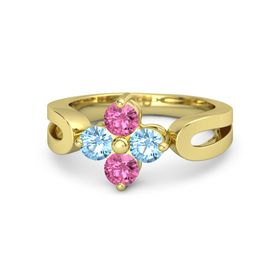 14K Yellow Gold Ring with Blue Topaz and Pink Tourmaline