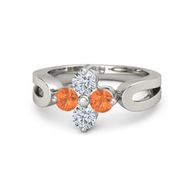 Palladium Ring with Fire Opal and Diamond