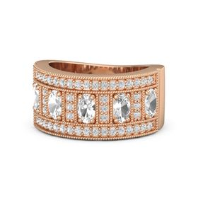 Oval Rock Crystal 14K Rose Gold Ring with Rock Crystal and White Sapphire