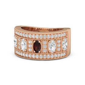 Oval Red Garnet 14K Rose Gold Ring with White Sapphire