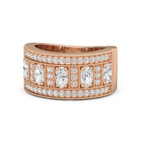 Oval White Sapphire 14K Rose Gold Ring with White Sapphire